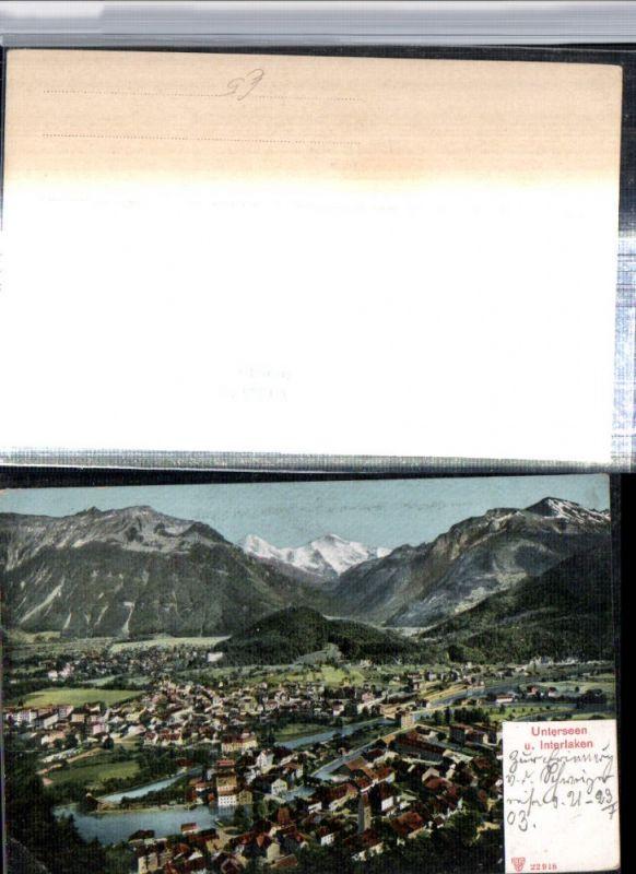 309640,Unterseen u. Interlaken Totale Bergkulisse Kt Bern