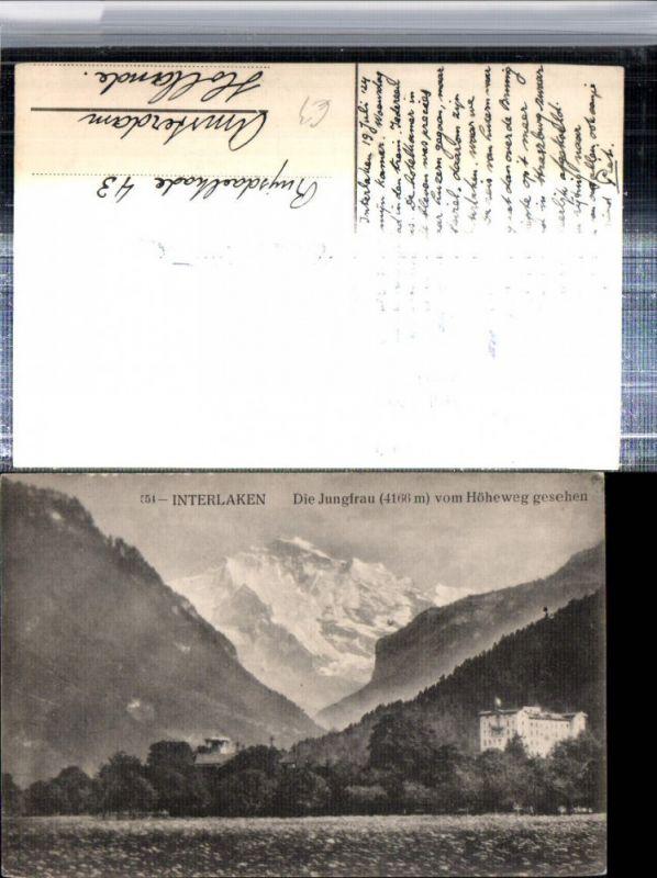 309647,Interlaken Hotel m. Jungfrau vom Höheweg Bergkulisse Kt Bern