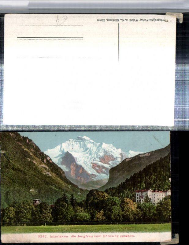 309651,Interlaken Hotel m. Jungfrau vom Höheweg Bergkulisse Kt Bern
