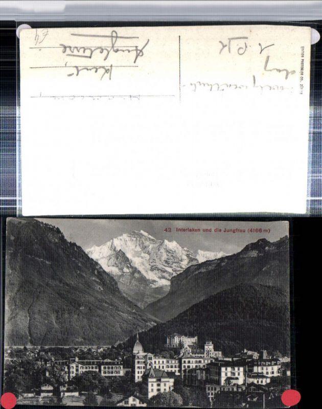 309652,Interlaken Teilansicht m. Jungfrau Bergkulisse Kt Bern