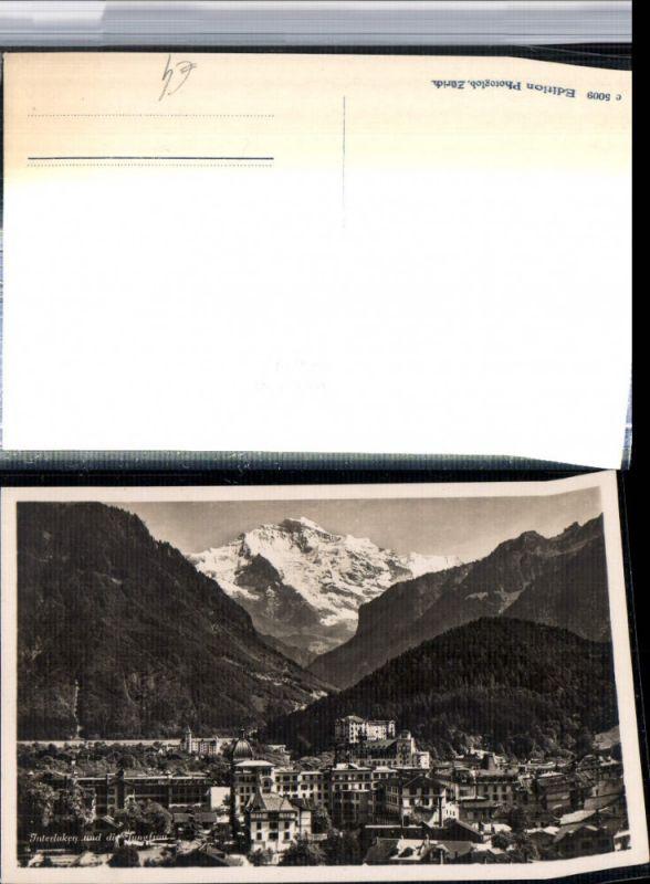 309659,Interlaken Teilansicht m. Jungfrau Bergkulisse Kt Bern