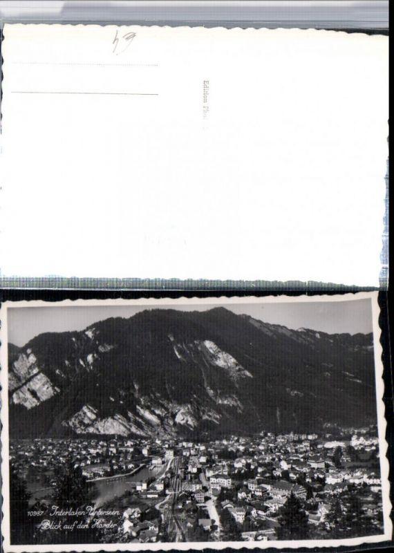 309660,Interlaken Unterseen Totale Blick auf den Harder Kt Bern