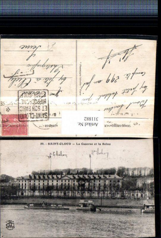 311882,Saint-Cloud La Caserne et la Seine Kaserne Dampfer