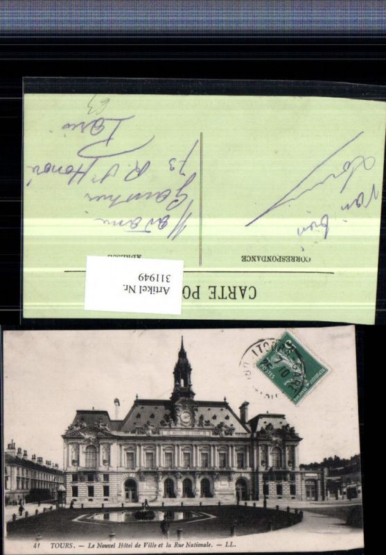 311949,Tours Le Nouvel Hotel de Ville et la Rue Nationale Rathaus