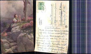 319035,Künstler Ak C. Benesch Symbol und Glaube Frau betet v. Kreuz pub Kilophot P. G. 170