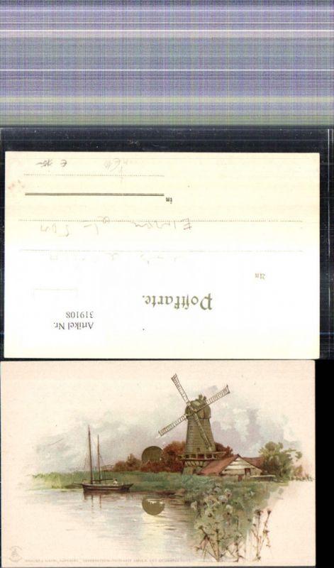 319108,Litho Windmühle Segelboot Sonnenschein Sonne Goldverzierung pub Winkler & Schorn 99115