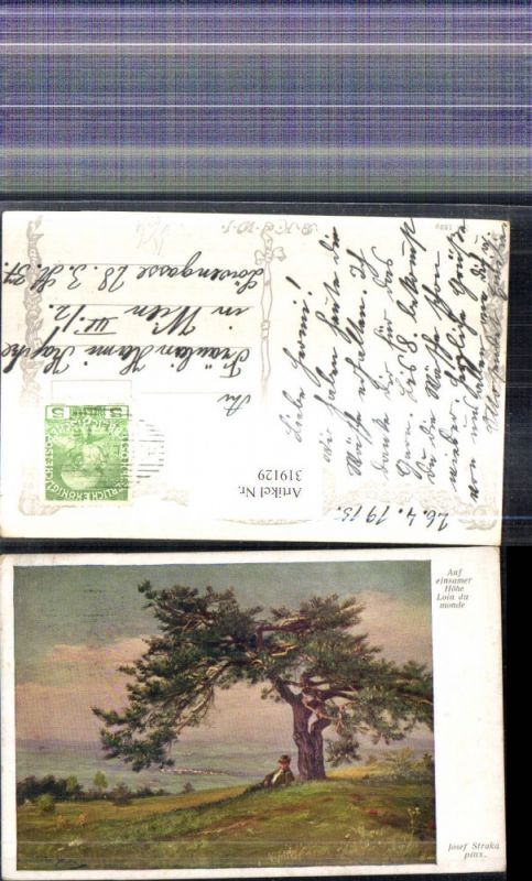 319129,Künstler Ak Josef Straka Auf einsamer Höhe Mann unter Baum Landschaft pub B.K.W.I. 1629