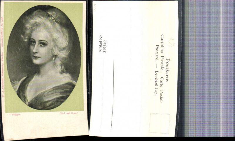 319149,Künstler Ak H. Torggler Glück und Gruß Frau Portrait Passepartout pub F. A. Ackermann 1178