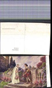 319210,Künstler Ak Fr. Rösler Frühling d. Lebens Paar Liebe Blumen Garten