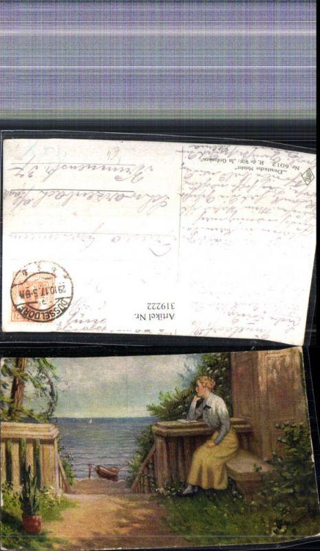 319222,Künstler Ak R. de Witt In Gedanken Frau Buch Boot Meer Landschaft