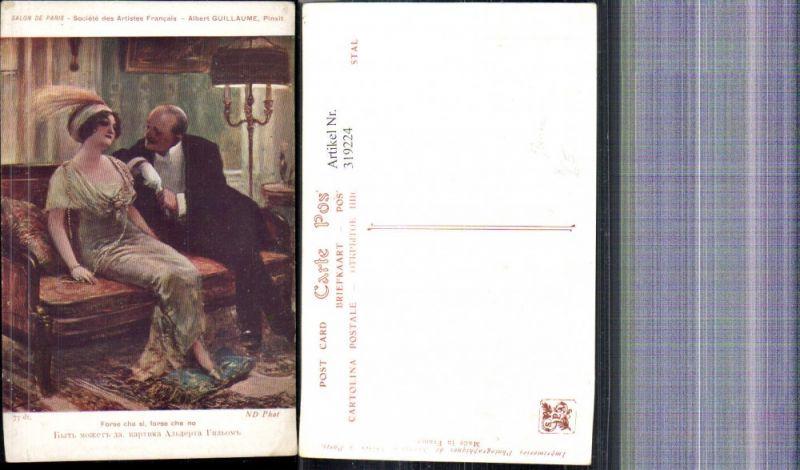 319224,Künstler Ak Albert Guillaume Forse che si forse che no Paar Mode Kopfschmuck Glamour