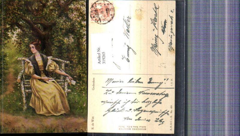 319265,Künstler Ak R. de Witt Gedenken Frau liest Brief Bank Lesen Garten