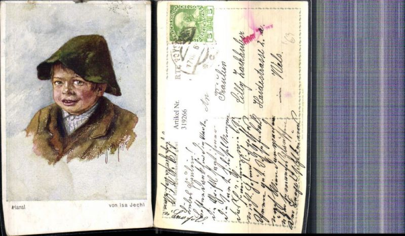 319266,Künstler Ak Isa Jechl Hansl Bub Junge Hut Portrait