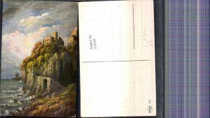 319268,Künstler Ak G. Fiebiger Burg Festung Felsen Küste Landschaft