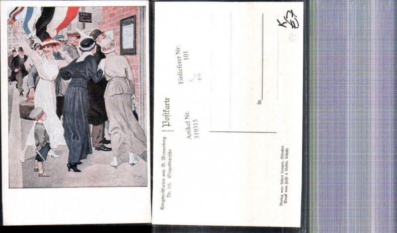 319315,Künstler Ak Brynolf Wennerberg Kriegspostkarte 10 Siegesdepesche
