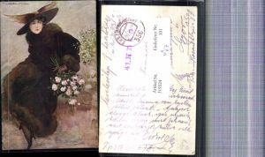 319324,Künstler Ak T. Corbella Frau Hutmode Hut Blumenstrauß Rosen Pelz Pelzmode Feldpost 356