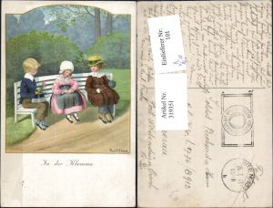 319351,Künstler Ak Pauli Ebner Kinder a. Bank In der Klemme pub M. Munk 1270