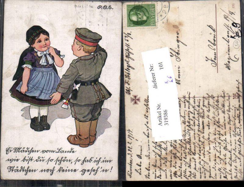 319386,Künstler Ak P. O. Engelhard Mädchen Tracht Bub Junge Uniform