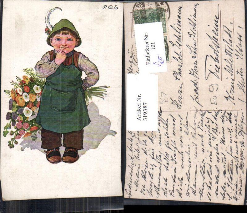 319387,Künstler Ak P. O. Engelhard Bub Junge Tiroler Hut Blumenstrauß pub Theo Stroefer