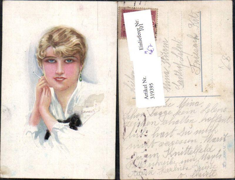 319395,Künstler Ak Louis Usabal Frau Zigarette Rauchen Ohrringe