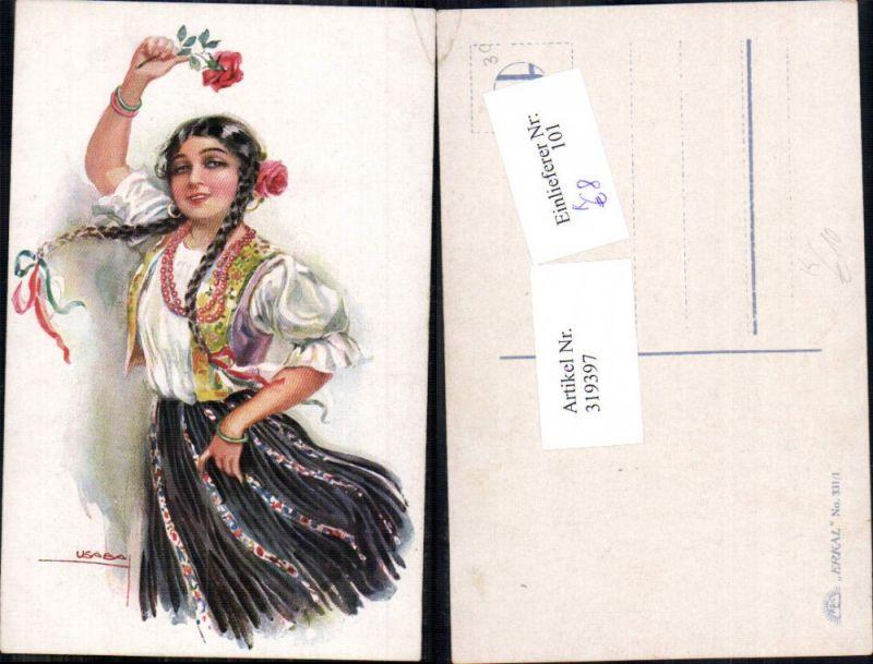 319397,Künstler Ak Louis Usabal Frau Mignon Zöpfe Rosen Blumen