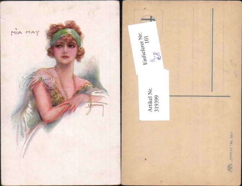 319399,Künstler Ak Louis Usabal Mia May Frau Haarband Mode Halskette