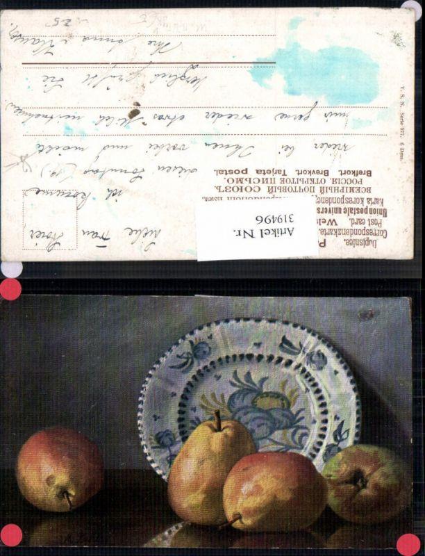 319496,Theo Stroefer 377 M. Billing Stillleben Birnen Teller