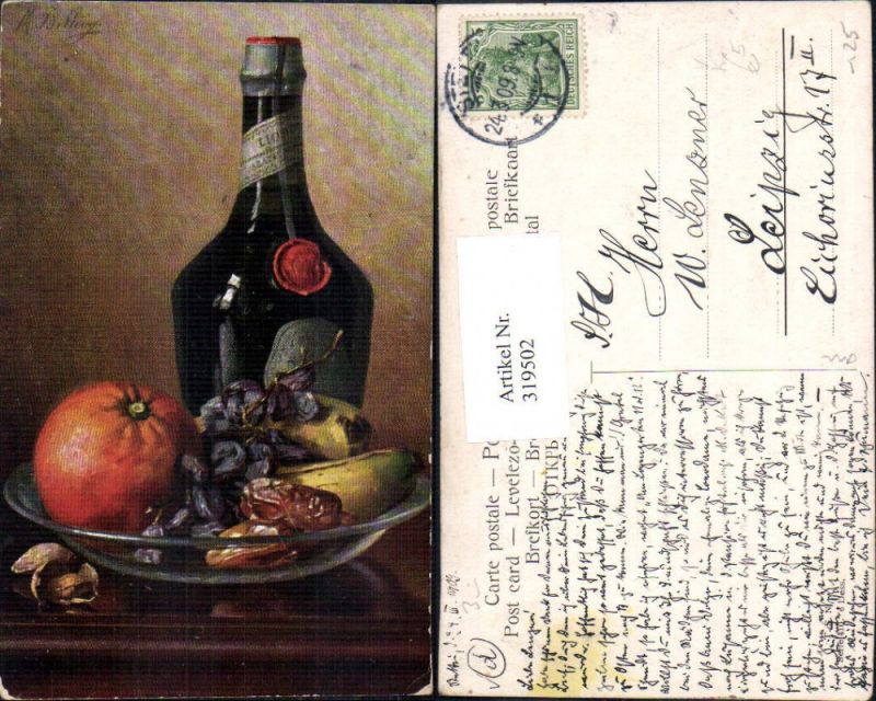 319502,Theo Stroefer 410 M. Billing Stillleben Flasche Schale Orange Banane Weintrauben Dörrpflaumen