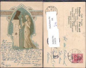 319579,Jugendstil Präge Künstler Ak Frau m. Handspiegel Büste Ornament