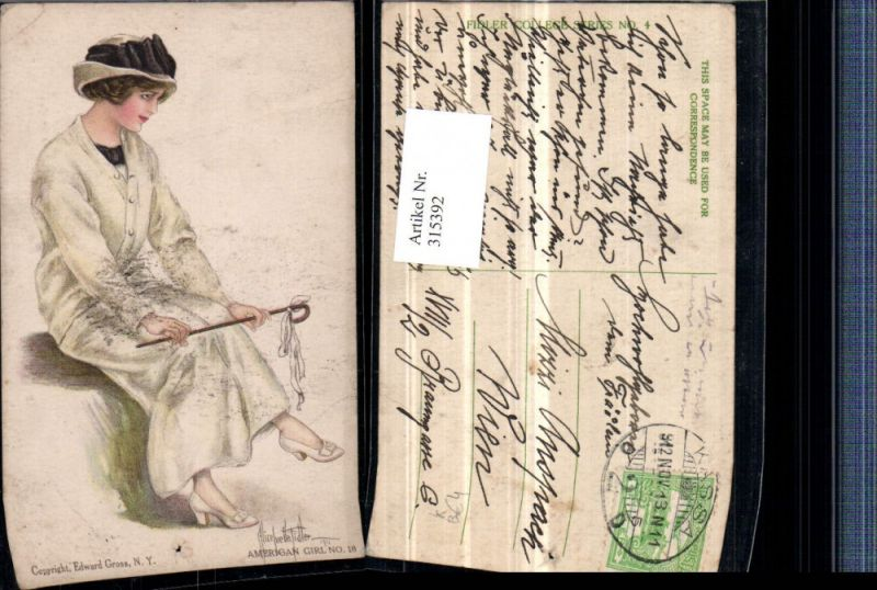 315392,Künstler AK Alice Luella Fidler American Girl Frau m. Mantel Hut Stock Stöckelschuhen Mode
