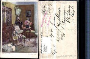 315400,Künstler AK R. Konopa Liebe Ecke Zimmer Schrank Stühle Uhr pub B.K.W.I. 1492