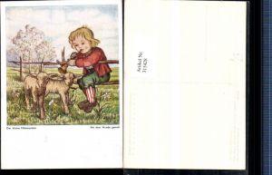 315428,Künstler AK Arnulf Erich Stegmann Mundgemalt Der kleine Flötenspieler Kind Flöte Lämmer