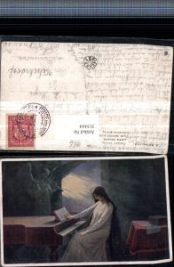 315444,Künstler AK J. Mathauser Letzte Akkorde Frau m. Kleid Klavier Engelstatue m. Geige