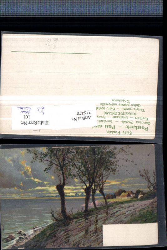 315478,Künstler AK Rob. Kämmerer Landschaftsbild See Häuser Bäume