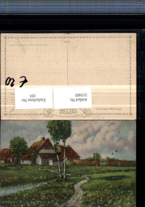 315485,Künstler AK A. Bertiglia Landschaft Häuser Bach Wegpartie