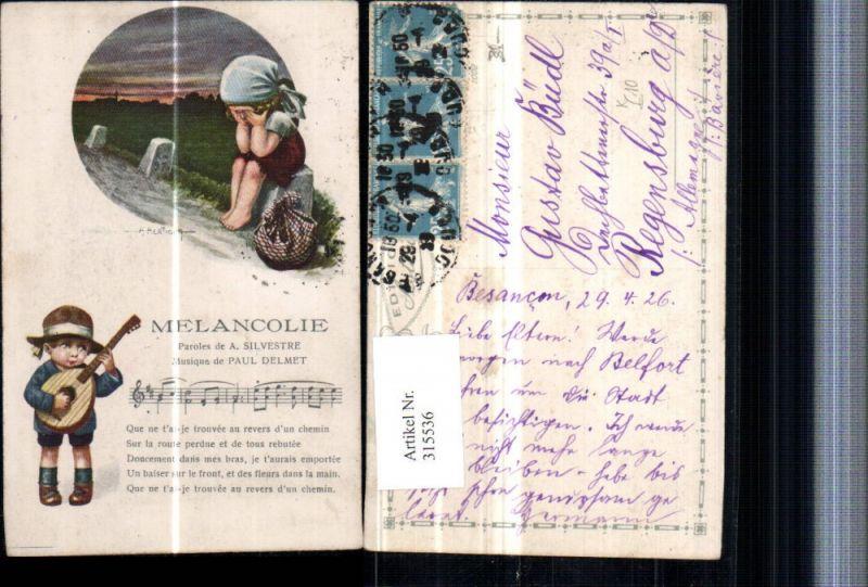 315536,Künstler AK A. Bertiglia Melancolie Mädchen weint Kopftuch Junge m. Hut Mandoline Lied