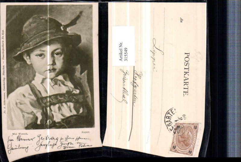 315549,Künstler AK Mizi Wunsch Rupert Junge in Tracht Federhut Portrait pub A. Ackermann 659