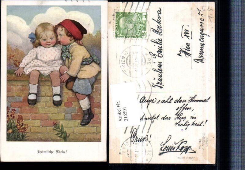 315591,M. Munk Vienne 713 Künstler Susan Beatrice Pearse Heimliche Liebe Kinder Mauer