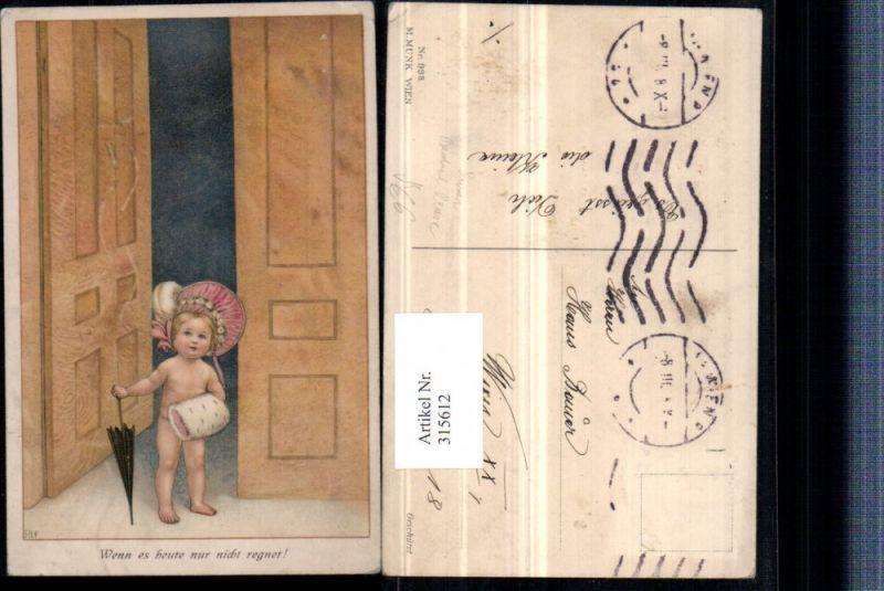 315612,M. Munk Vienne 998 Künstler Susan Beatrice Pearse nacktes Mädchen Muff Hut Schirm