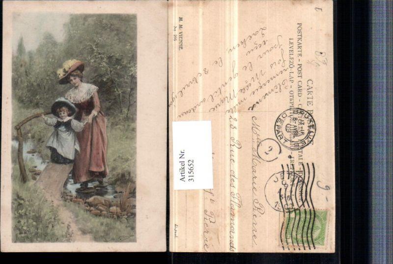 315652,M. Munk Vienne 295 Künstler P. Tarrant Frau Mutter m. Kind Hüte Kleider Brücke