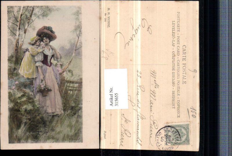 315655,M. Munk Vienne 295 Künstler P. Tarrant Frau Mutter m. Kind Kleider Hüte Korb