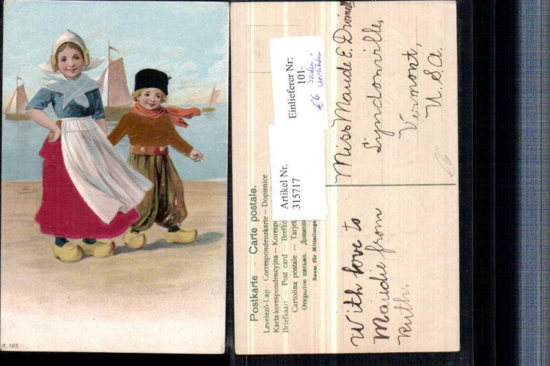 315717,Präge Litho Applikation Seide Kinder Holländische Tracht Pantoffeln Segelboote