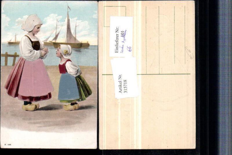 315718,Präge Applikation Seide Mädchen in Holländischer Tracht Pantoffeln Segelboote