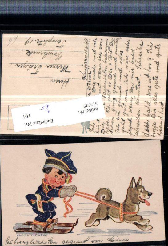 315729,Künstler AK Arnold Tilgmann Kind auf Ski Hund zieht