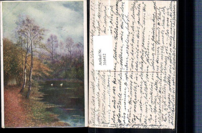 316412,Künstler AK Willy Straka Sommer Landschaft Teich Bäume