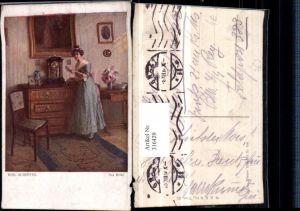 316429,Künstler AK Rob. Scheffer Der Brief Frau m. Kleid Zettel Uhr Kommode