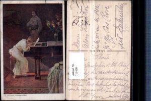 316430,Künstler AK C. Benesch Erinnerungen Frau m. Kleid weint Klavier Soldat