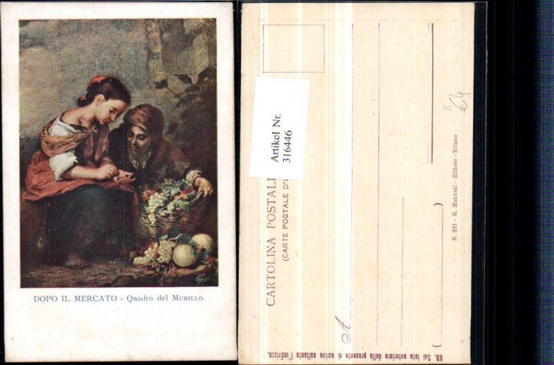 316446,Künstler AK Dopo il Mercato Quadro del Murillo Frauen Korb Obst
