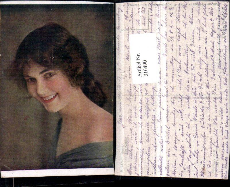 316490,Künstler AK K. Larson Ein Kobold Frau Mädchen Portrait