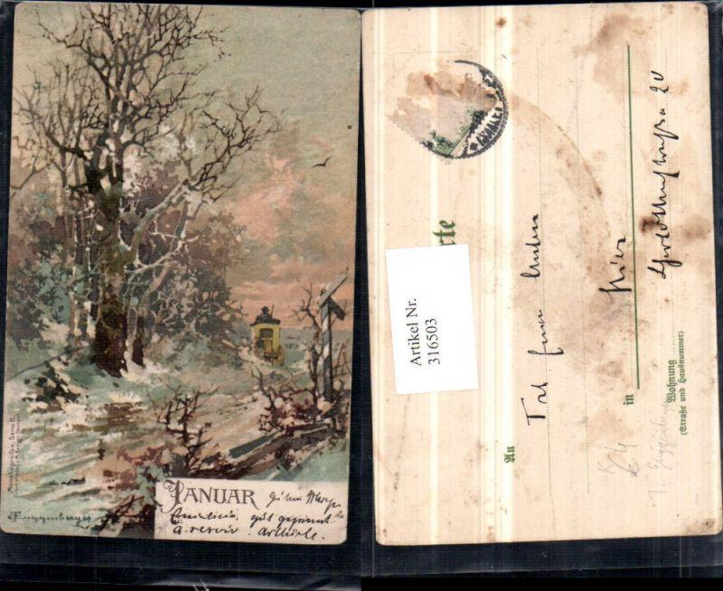 316503,Künstler AK T. Guggenberger Januar Winterlandschaft Wald Postkutsche
